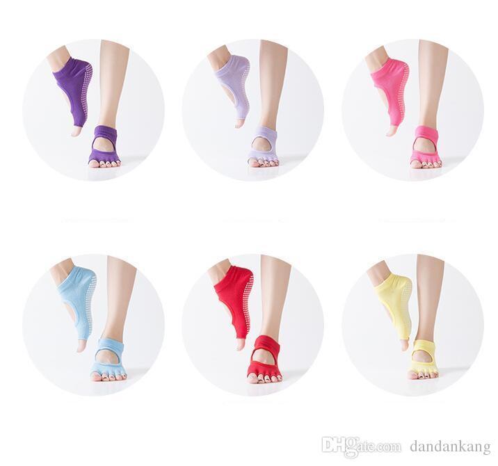 Mulheres yoga toes meias gym dança exercício 5-dedos meias não-slip desodorante respirável algodão pé massagem meias de malha