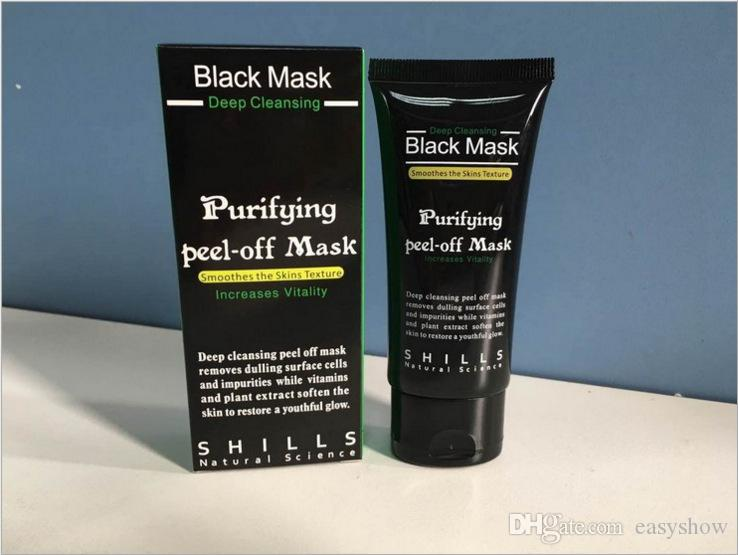 TOP SHILLS Eliminación de la espinilla Carbón de bambú Máscara negra Limpieza profunda Peel Off Máscara Poros que se encogen con especificación y caja sellada