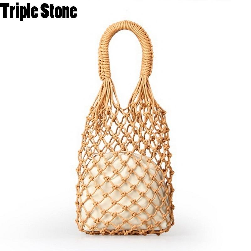 4f1b4898cc15 Women Handbags Mesh Rope Net Bags INS Chic Summer Beach Bags Cotton Hollow  Out Basket Composite Bag Leisure Straw Bag For Girls Y18102303 Womens Bags  Black ...