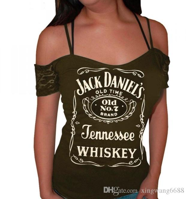 Hot Sexy T-shirt Blusen Frauen Sommer 2018 Casual Jack Daniels Druck Tops Damen Club Tees Lila Femme 4XL Kostenloser Versand