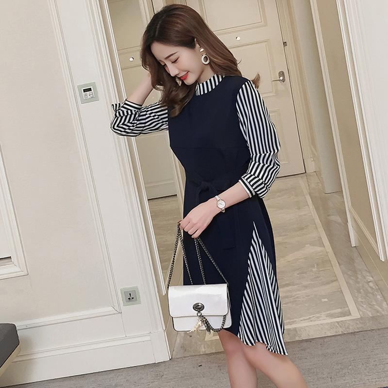 2b1caab6e5b 2019 Stylish Patchwork Maternity Nursing Dress Autumn Korean Fashion Long  Sleeve Clothes For Pregnant Women Pregnancy Wear From Mingway245