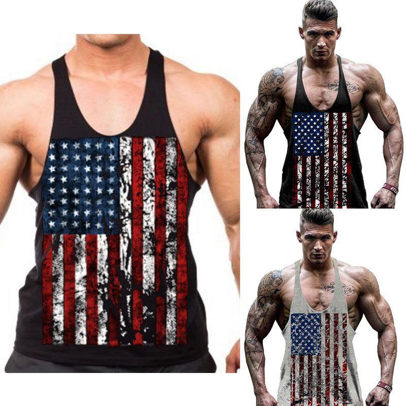 01209db2200f5 American Flag Tanks Short T-Shirt Summer Muscle King Men s Professional Bodybuilding  Fitness Training USA Flag Vest S-2XL American Flag Tanks Summer Short ...