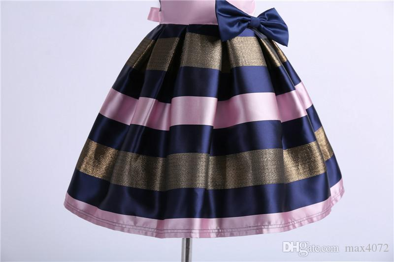 fashion girl strip dress short sleeve European style bowtie princess dress for 3-10years girls kids children party dinner performance dress