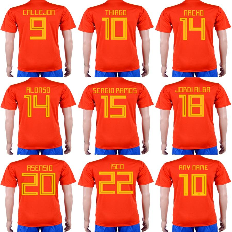 8a603e3488d 2019 Mens Womens Kids 2018 World Cup Spain Home Red Soccer Jerseys 22 ISCO  10 THIRGO 15 RAMOS 20 ASENSIO Soccer Uniforms Accept Custom From  Espn sport