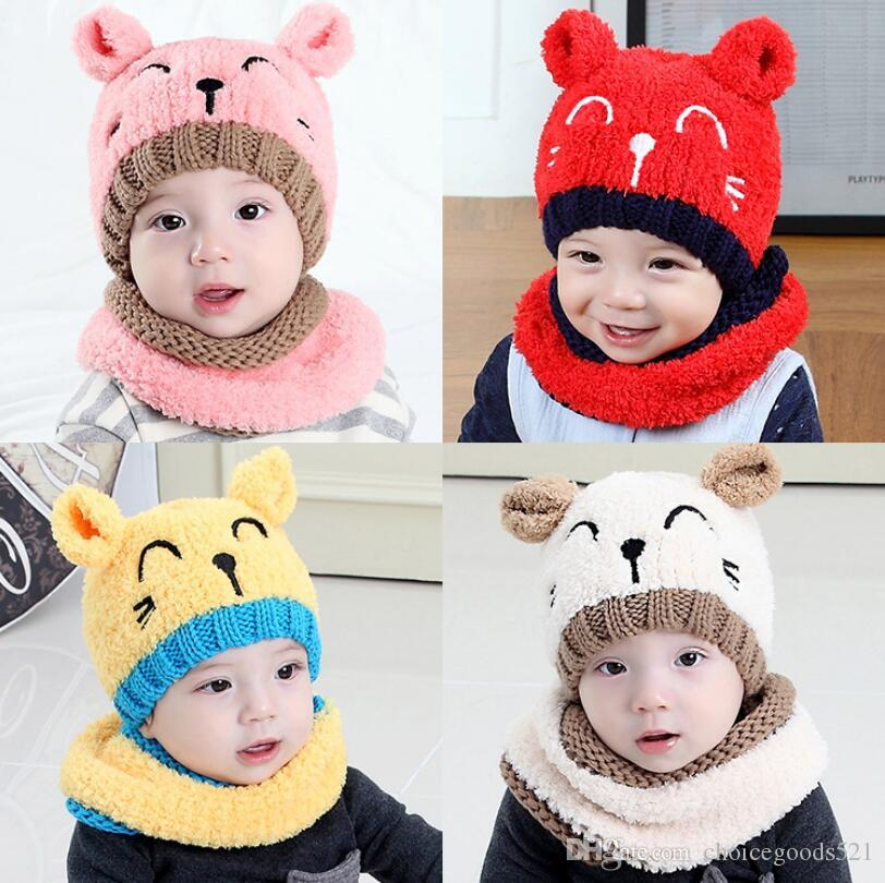 f60b272984f 2019 Baby Embroidery Bear Knitted Hat With Scarf New America Girl Boy  Infant Winter Warm Beanie Cap From Choicegoods521