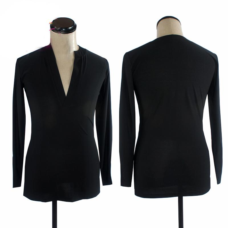 184d989aa9c Men'S Latin Dance Tops Long Sleeves V Collar Ballroom Dancing Practice  Clothing Adult Tango Rumba Competition Flamenco Shirt