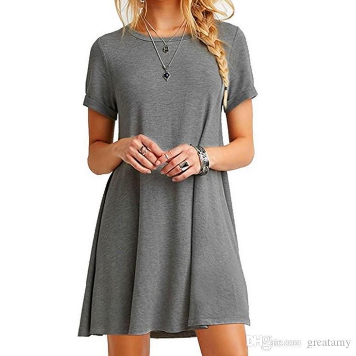 Verano de las mujeres sexy de manga corta de color sólido suelta O-cuello de algodón T-shirt vestido de damas A-line mini volantes vestido de playa tops S-5XL