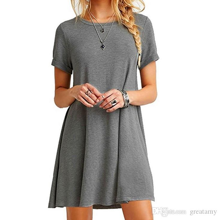 Women's summer sexy short sleeve solid color loose O-neck cotton T-shirt dress ladies A-line mini ruffles beach dress tops S-5XL