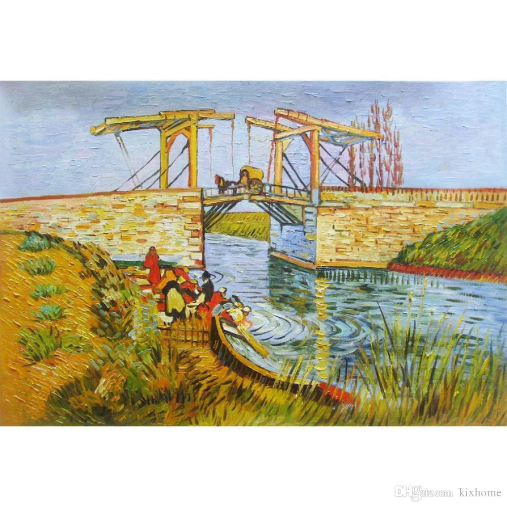 2018 Wall Art Oil Painting The Drawbridge At Arles With A Group Of ...