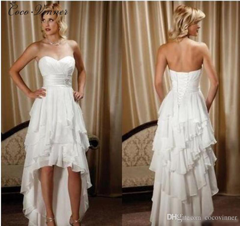 CV Low High Simple Modern Short Wedding Dress New Sweetheart Sleeveless Tiered Skirts Lace Up Back Plus Size Beach Dresses W0298 Guest