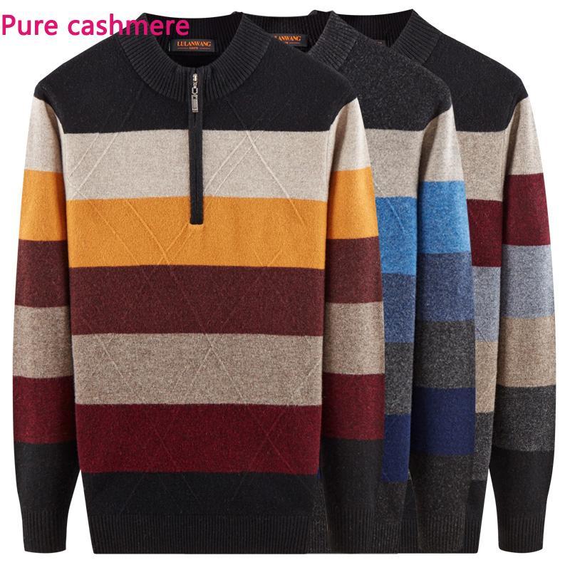8a3079c8576 new Autumn Winter 100% Pure Cashmere Sweater Men Bottoming Zipper Half High  Collar Pullovers Thick Striped size XSSMLXL XXL XXXL