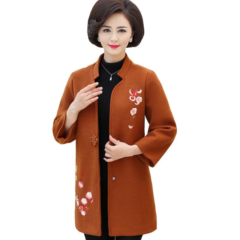53395580d48 2019 Spring Autumn Middle Aged Women Wool Blend Coat Elegant Floral  Embroidery Long Sleeve Woolen Jacket Outwear Plus Size XL 5XL From Laftfly
