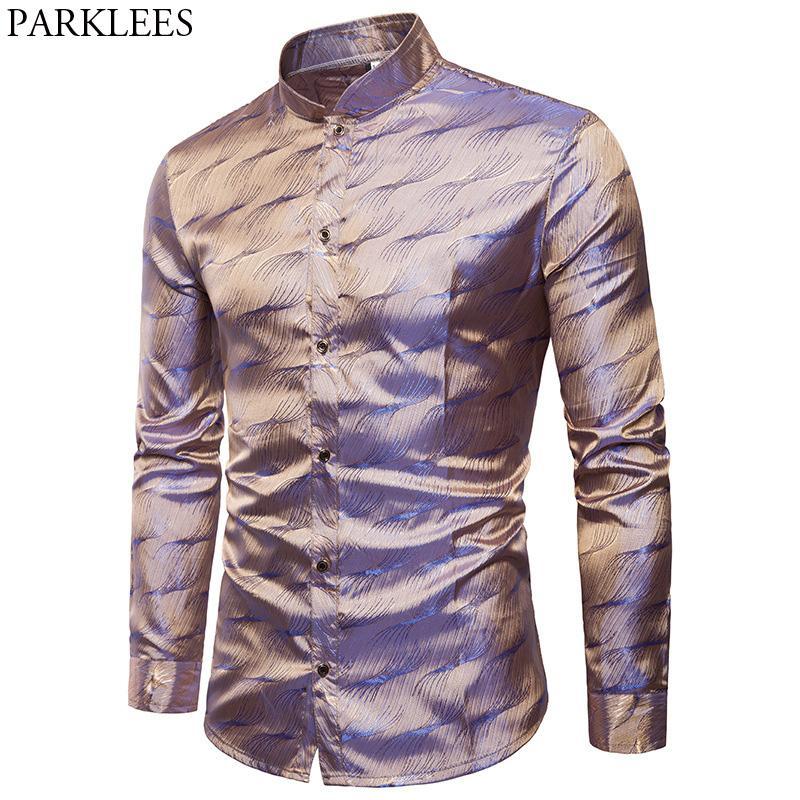Dress Casual Silk Berniee Collar Tuxedo Shirt Para Mandarin Wedding Camisas From Sleeve Satin Mens 2018 Shirt Long Hombre 3XL Fashion 2019 Shirts qtxPSc