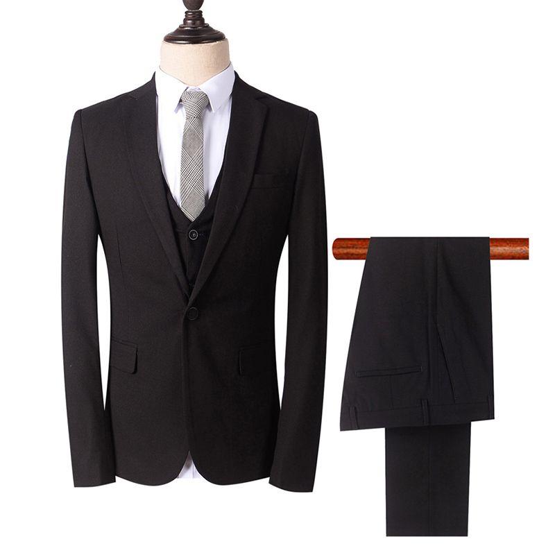 00129ca6d81ea 2018 Men Suit Black Peaked Lapel Business Evening Dress Wedding Suits  Custom Made Slim Fit Formal Groom Tuxedo 3Piece Best Man Prom Party