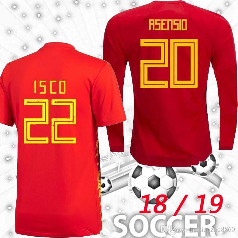 S Xxl Manga Larga 2018 España Asensio Isco Morata 2019 Camisetas De Fútbol  18 19 España Copa Del Mundo Camisetas Silva Pique A.Iniesta Fabregas T  Shirts Por ... 71eecf861539e