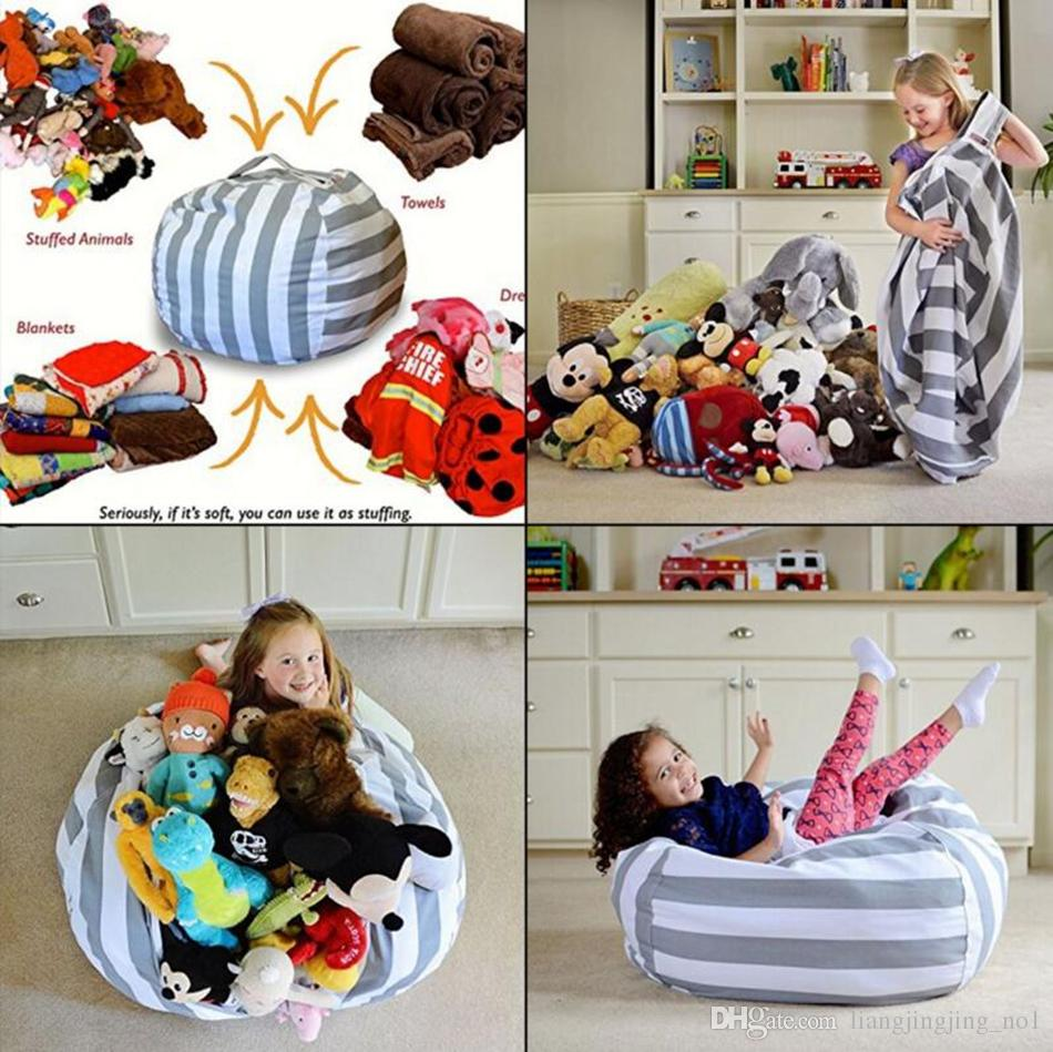 2019 stuffed animal storage bean bag chair 61cm portable kids toy organizer play mat clothes. Black Bedroom Furniture Sets. Home Design Ideas