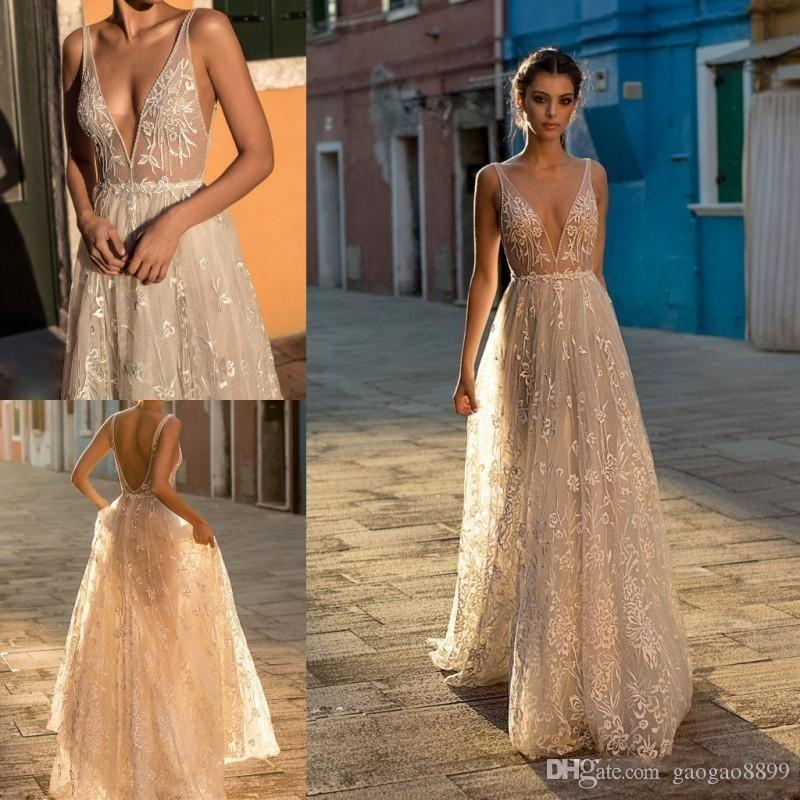b2d02035d4eb Gali Karten 2018 A Line Boho Wedding Dresses Bridal Gowns Sexy Bohemia Deep  V Neck Lace Appliqued Backless Tulle Floor Length With Beading Affordable  ...