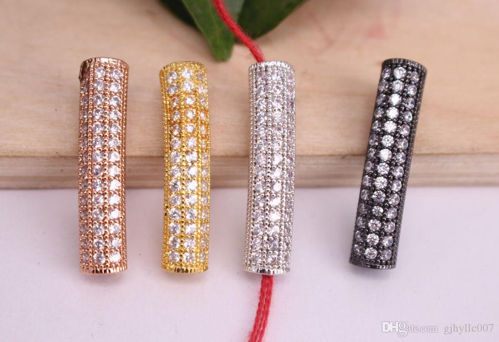 Micro Mix покрытием круговой изгиб форма трубки медь металл белый CZ /Циркон бусины разъем кулон/браслет/ожерелье,ювелирные изделия выводы