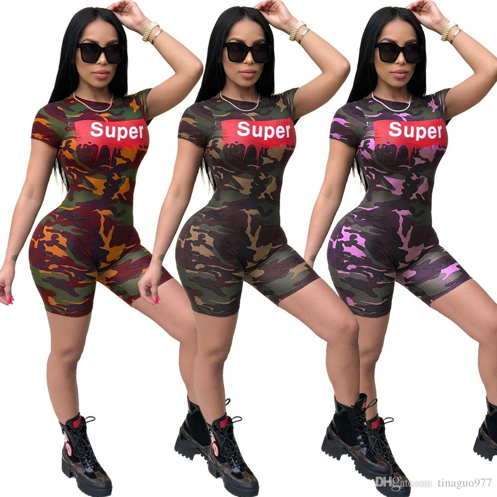 2018 Camo Women Jumpsuits Rompers Letter Print