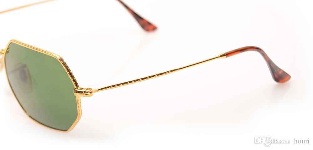 Top Quality 3556 Fashion Sunglasses For Man Woman Eyewear Designer Brand Sun Glasses Octagonal Sun glasses UV4 Lenses Gold Frame Green Lens