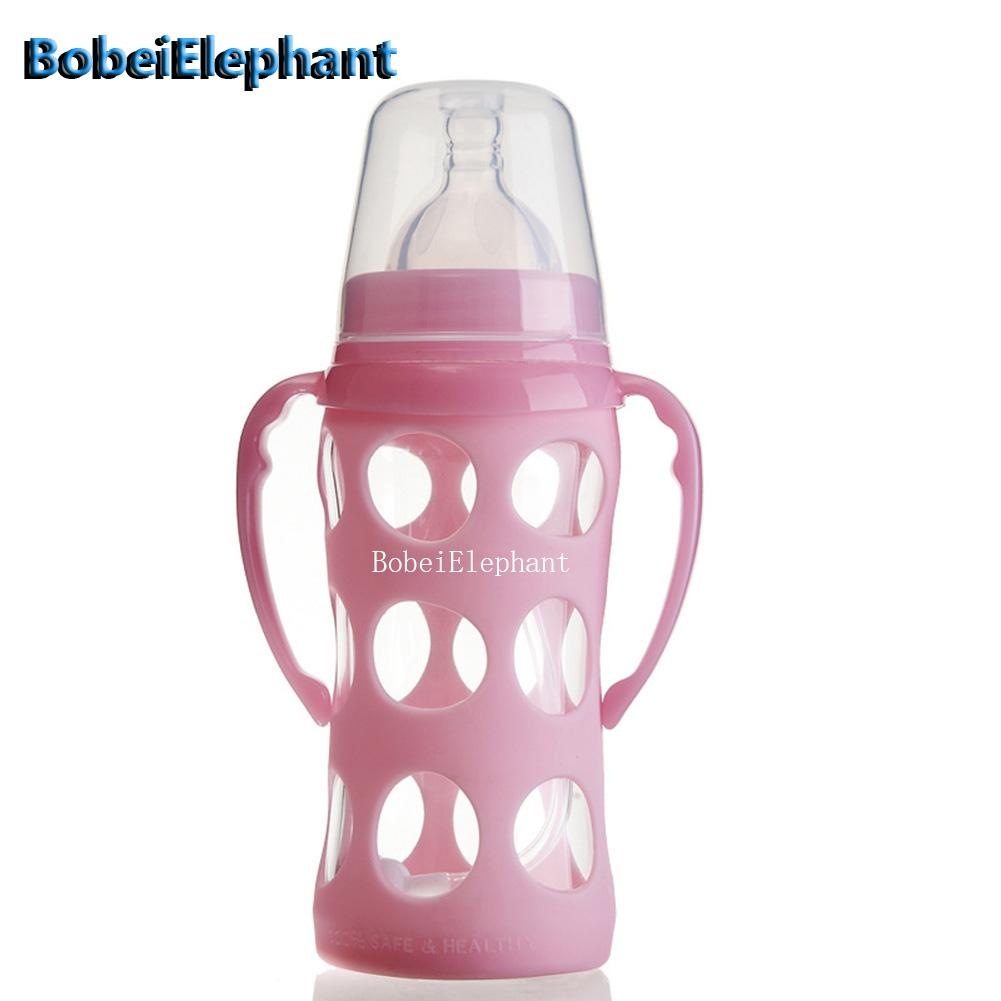 240ML Infant Glass Feeding Bottle With Handle + Straw Silicone Cover Scald Proof Baby Newborn Water Food Feeder Bottles @ZJF