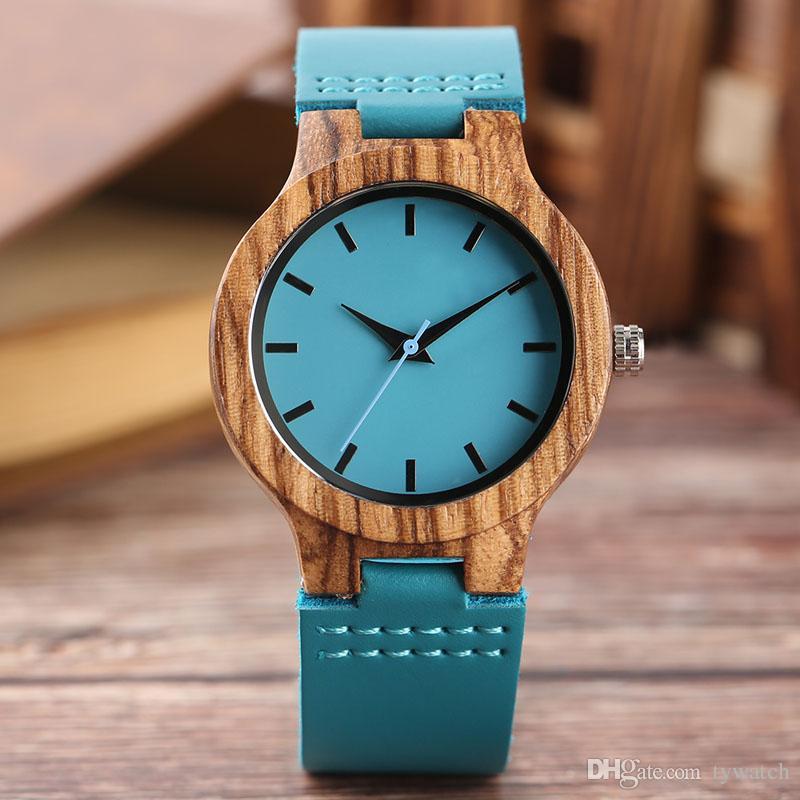 Grosshandel Top Holz Uhren Damen Blau Naturliche Bambus Handgemachte