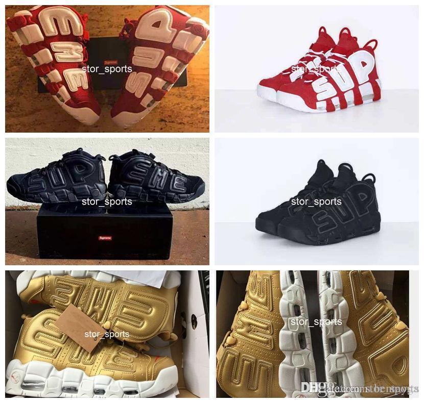 online store ea63f 600b4 Acheter 2018 Nike Air More Uptempo Supreme Air Plus Uptempo Hommes Femmes  Chaussures De Basketball De Haute Qualité Grand Pippen Sport Athlétique  902290 700 ...