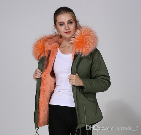 short style women jackets Meifeng brand Soft fur orange rabbit fur lined army green canvas mini parka with orange raccoon fur trim hoody