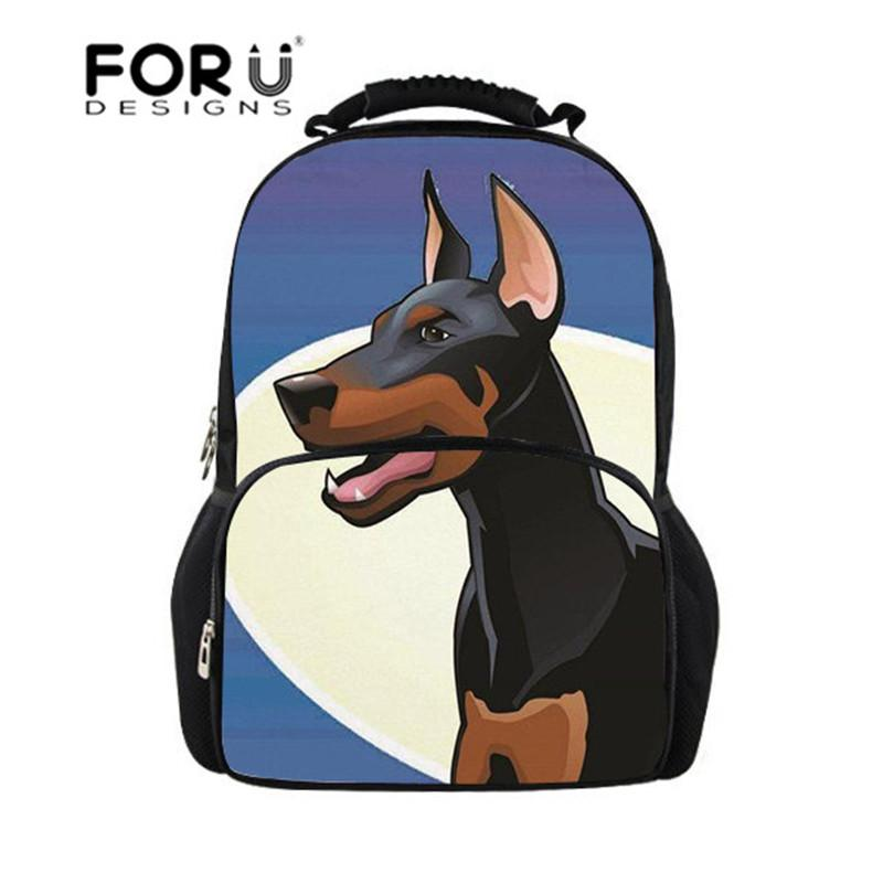 FORUDESIGNS Teen Boys School Bags Doberman Dog Printing School Backpack for Junior Backpacks for Students Orthopedic Schoolbag