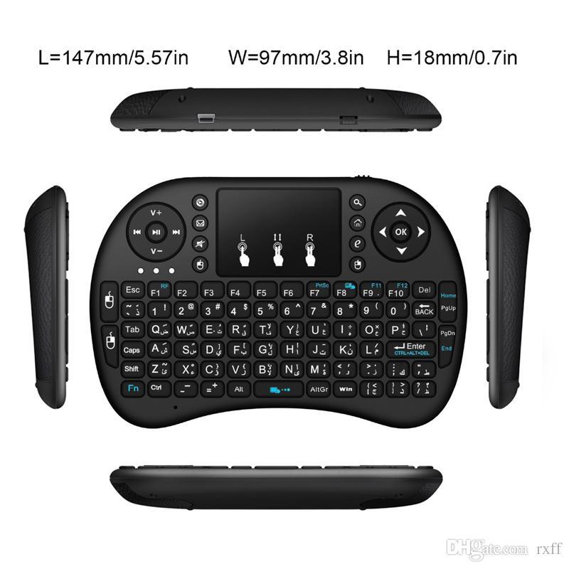 Mini tastiera wireless Rii i8 2.4G Telecomando inglese tastiera mouse tattile Smart TV Box Android Tablet PC da DHL