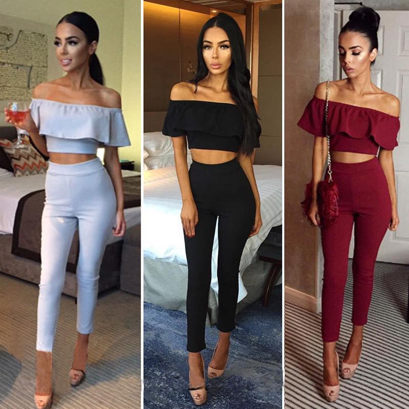 Women's Clothing Fast Deliver Women Crop Top Blouse Pants Two-piece Playsuit Bodysuit Jumpsuit Romper Set Ladies Womens Off Shoulder Jumpsuits