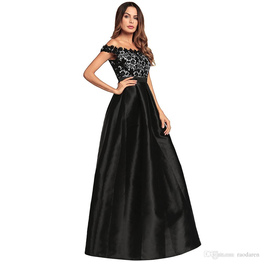 Women Ball Gown Dress Summer 2018 Elegant Lace Stitch Off Shoulder Floral Sexy Backless Ladies Evening Party Club High Waist Dresses