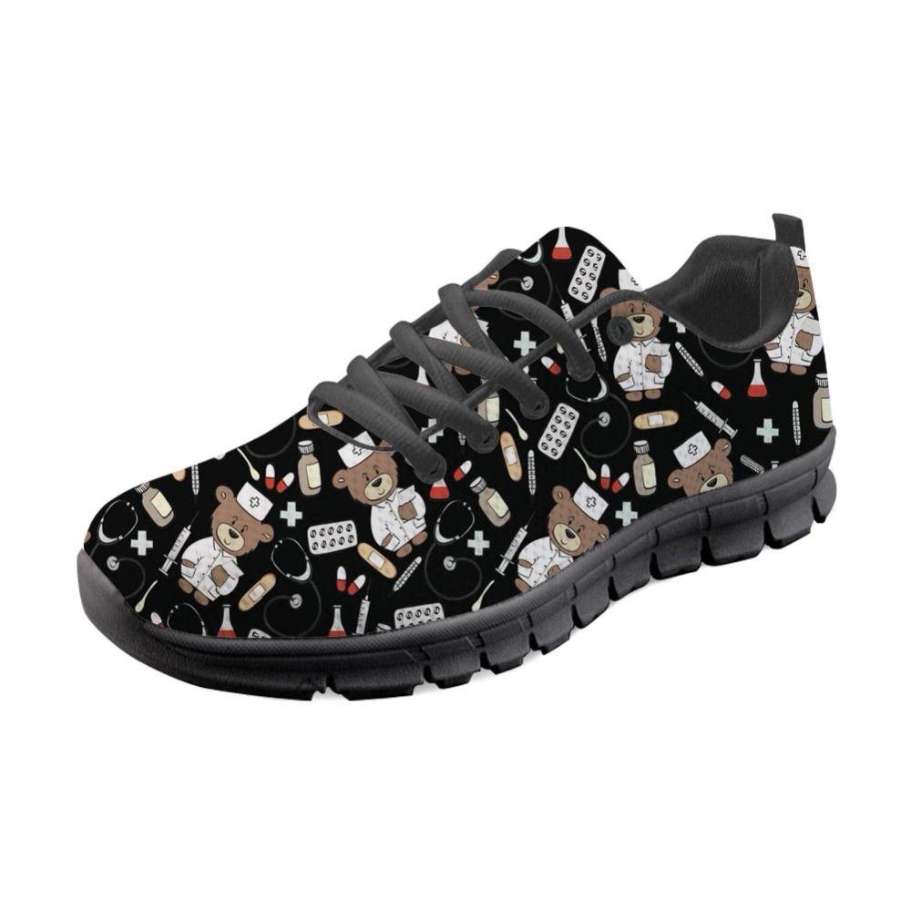 23905011f5476 Acheter Chaussures De Pédiatrie Personnalisées Sneakers Femmes Noires  Infirmières Mignonnes Modèle Chaussures Décontractées Pour Femmes Chaussures  ...