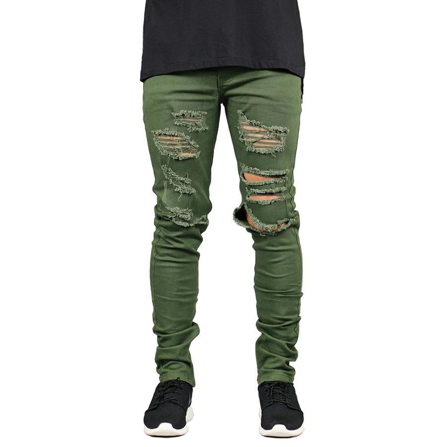 59bdf83eb8864 Compre Pantalones Vaqueros De Los Hombres Jeans De Moda Elásticos Slim Fit  Ripped Jeans Army Green Hole Para Hombres H5093 A  32.24 Del Movearound