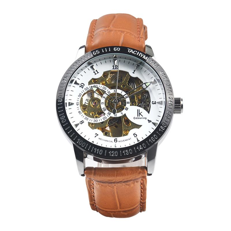 Brand IK Colouring Men S Sport Watch Self Wind Auto Mechanical Analog  Skeleton Wristwatch Genuine Leather Band 316L Steel Sport Watches Online  Shopping ... 6ca05bf43d3cc