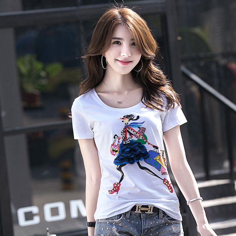 Saf pamuk kısa kollu kadın T - shirt moda stereo şekil tasarımı.