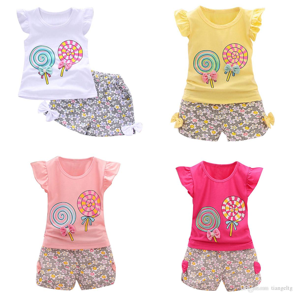 9f12ab8842b 2019 Toddler Girls Tops+Shorts Suit Lollipop Rabbits 8 Designs Cartoon  Printed Kids Two Piece Clothing Sets Lotus Leaf Sleeve Cotton 6M 4T From  Tiangeltg