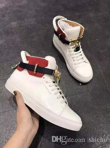 8e81105b35f Fashion Casual Shoes Men Sneakers Metal Locks Women Comfortable Lace-Up  Genuine Leather Designer Personality with Decoration And Lo Dress Shoes  Couple Shoes ...