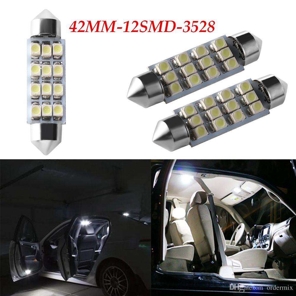 2 Pz Nuovo Bianco Puro Blu Cristallo 42mm C5W Canbus 12SMD Led Lampadina 2835SMD Auto Automotive Lampada DC12V Luce targa Lampadina