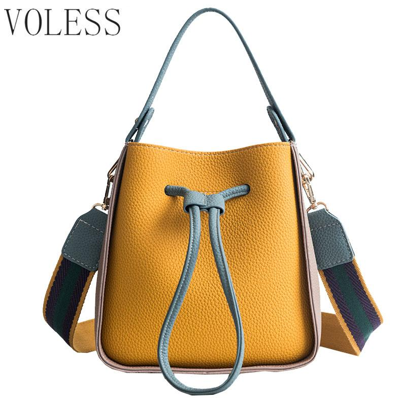 8163e9262432 Drawstring Women PU Leather Shoulder Bags Female Handbag Colorful Strap  Bucket Bag Brand Ladies Messenger Crossbody Bags Handbags Brands Womens  Handbags ...