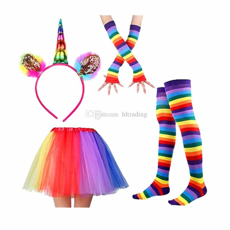 Unicorn Tutu Skirt Dress with Unicorn Horn Headband leggings socks gloves Children baby Photo Props Party Costumes Outfits C3849