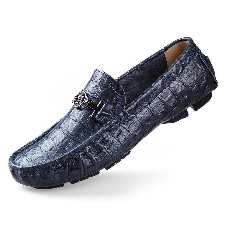 Crocodile Loafers Men Luxury Handmade Genuine Leather