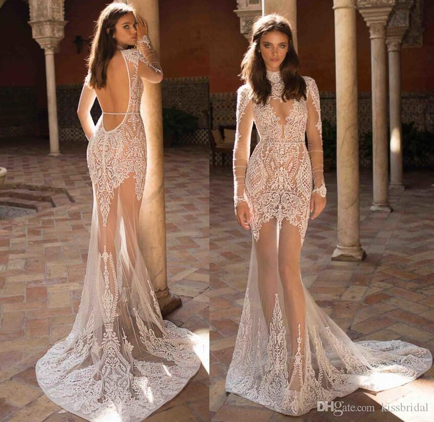Petite Wedding Gown Designers: Sexy Illusion 2018 Berta Bridal Gowns Boho Long Sleeves