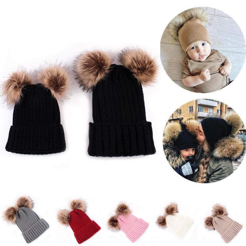 1PCS Mom Newborn Child Kids Baby Warm Double Pompon Knit Hats Fur Pom Winter Crochet Ski Cap