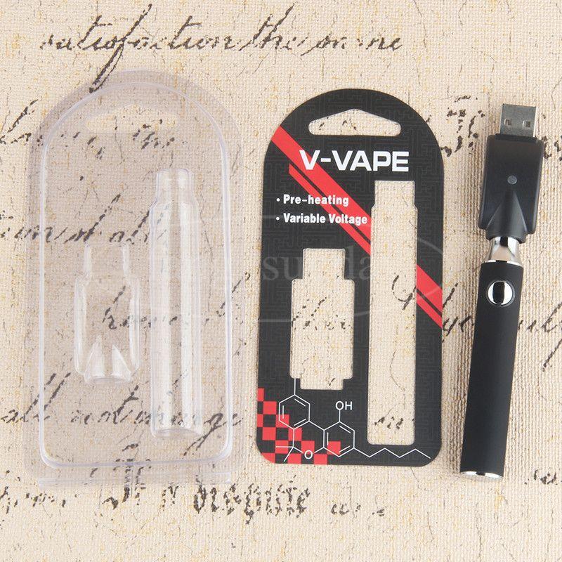 Evod Preriscaldare Cera Olio Vape Pen Batteria 650 mAh 14 millimetri regolabile preriscaldamento tensione variabile VV 510 Ego Blister Batterie Kit Package