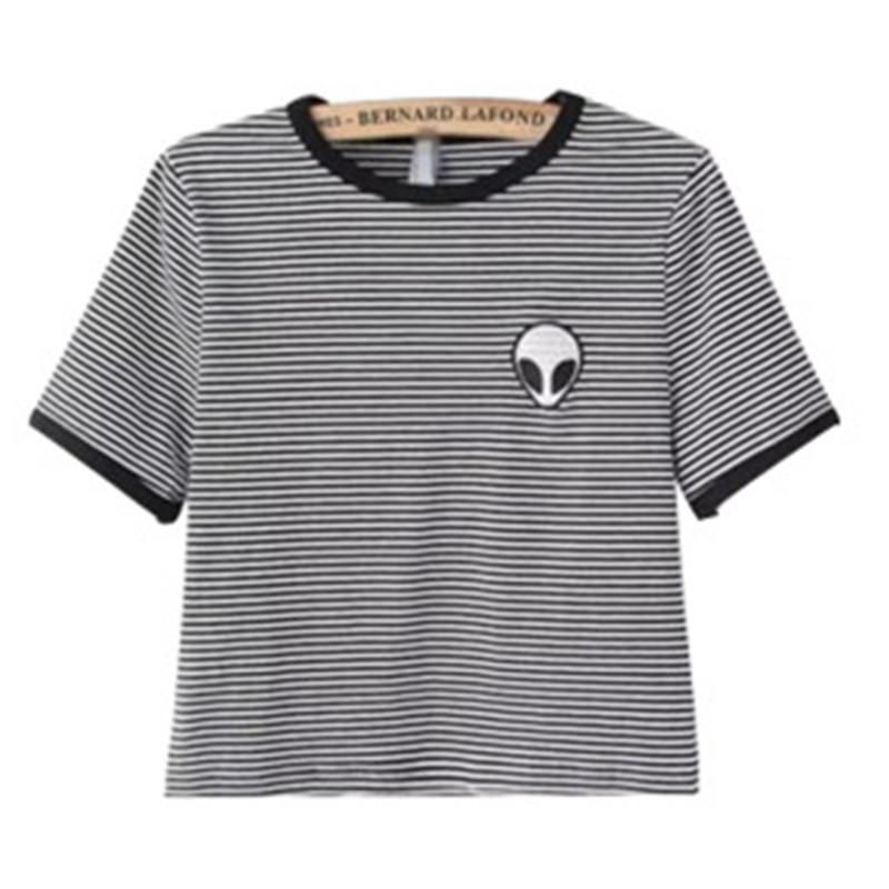 539fe22e786 Women Loose Print Short Sleeve Tee Shirt Casual Crop Top Alien ...