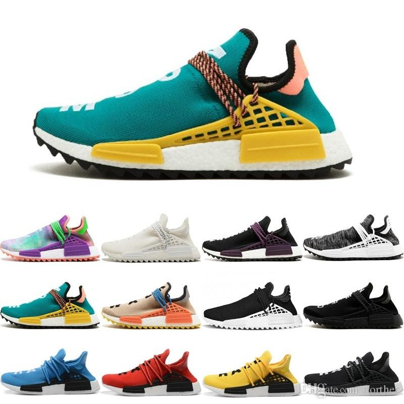 660fc393b4803 2019 Cheap Wholesale HUMAN RACE Holi Flash Green N.E.R.D Core Hot 2016 Men S    Women S Discount Classic Cheap Fashion Sport Shoes With Box Spikes Shoes  Best ...
