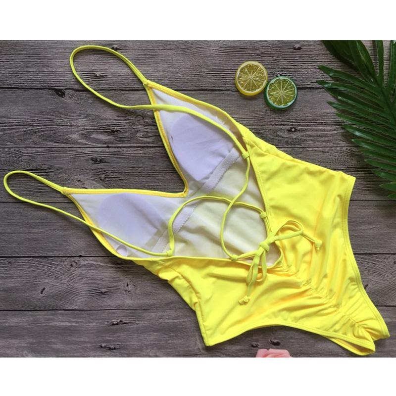 2017 Sexy One Piece Swimsuit Women Swimwear Scrunch butt Bodysuit Bandage Cut Out Beach Bathing Suit Swim Wear Monokini Swimsuit