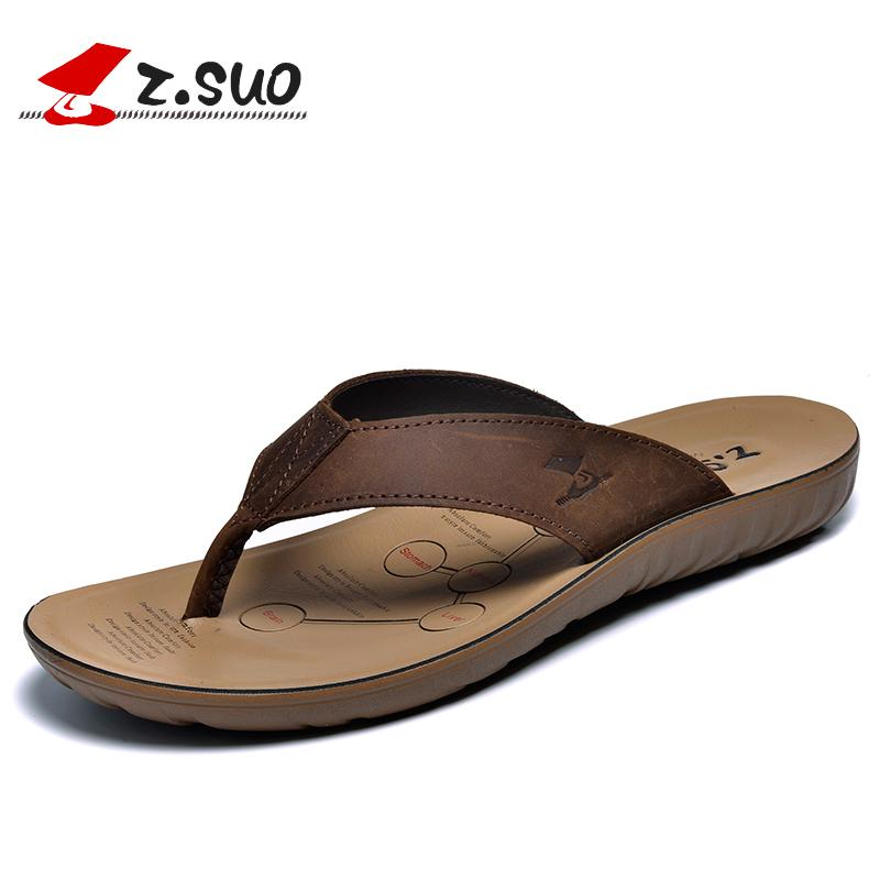 d2558dbc6f593c Z.Suo Brown Fashion Summer Slippers Men Genuine Leather Sandals Beach Shoes  Brand Mens Flip Flops Soft Mannen Slippers 45 Q16618 Womens Slippers  Sheepskin ...