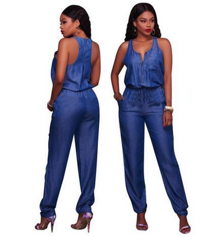 Objective Plus Size 2018 Casual Sexy Fashion Ol Pockets Chiffon Rompers Womens Jumpsuit Long Jumpsuit Women's Clothing